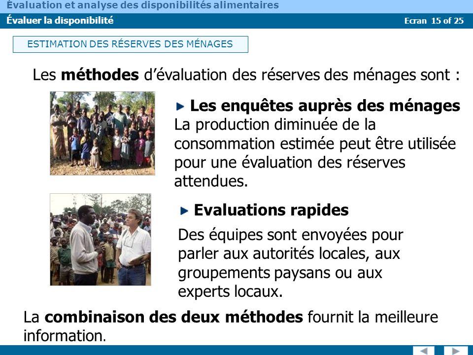 Ecran 15 of 25 Évaluation et analyse des disponibilités alimentaires Évaluer la disponibilité Les méthodes dévaluation des réserves des ménages sont :