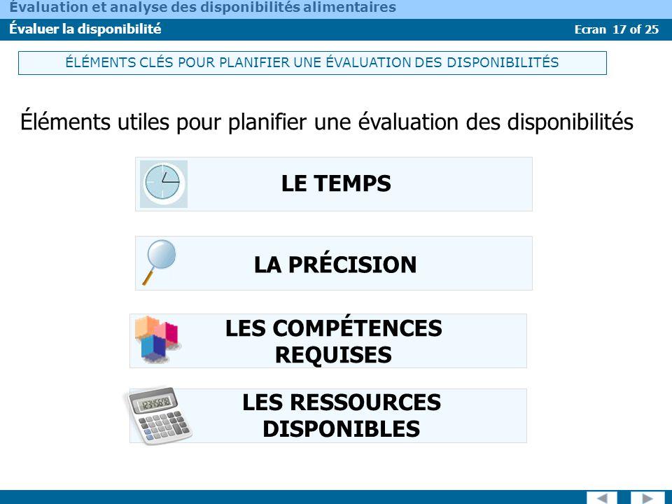 Ecran 17 of 25 Évaluation et analyse des disponibilités alimentaires Évaluer la disponibilité ÉLÉMENTS CLÉS POUR PLANIFIER UNE ÉVALUATION DES DISPONIB