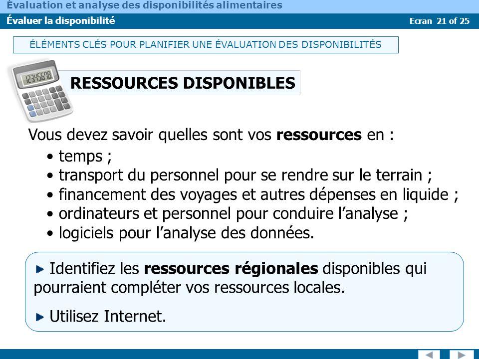 Ecran 21 of 25 Évaluation et analyse des disponibilités alimentaires Évaluer la disponibilité RESSOURCES DISPONIBLES temps ; transport du personnel po