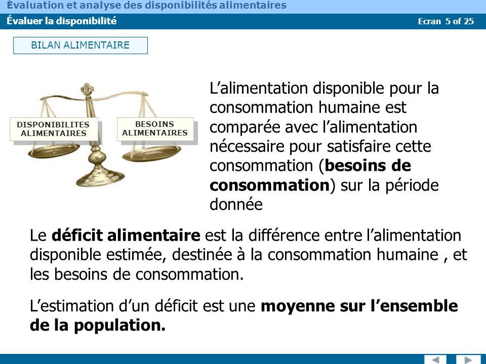 Ecran 5 of 25 Évaluation et analyse des disponibilités alimentaires Évaluer la disponibilité Lalimentation disponible pour la consommation humaine est