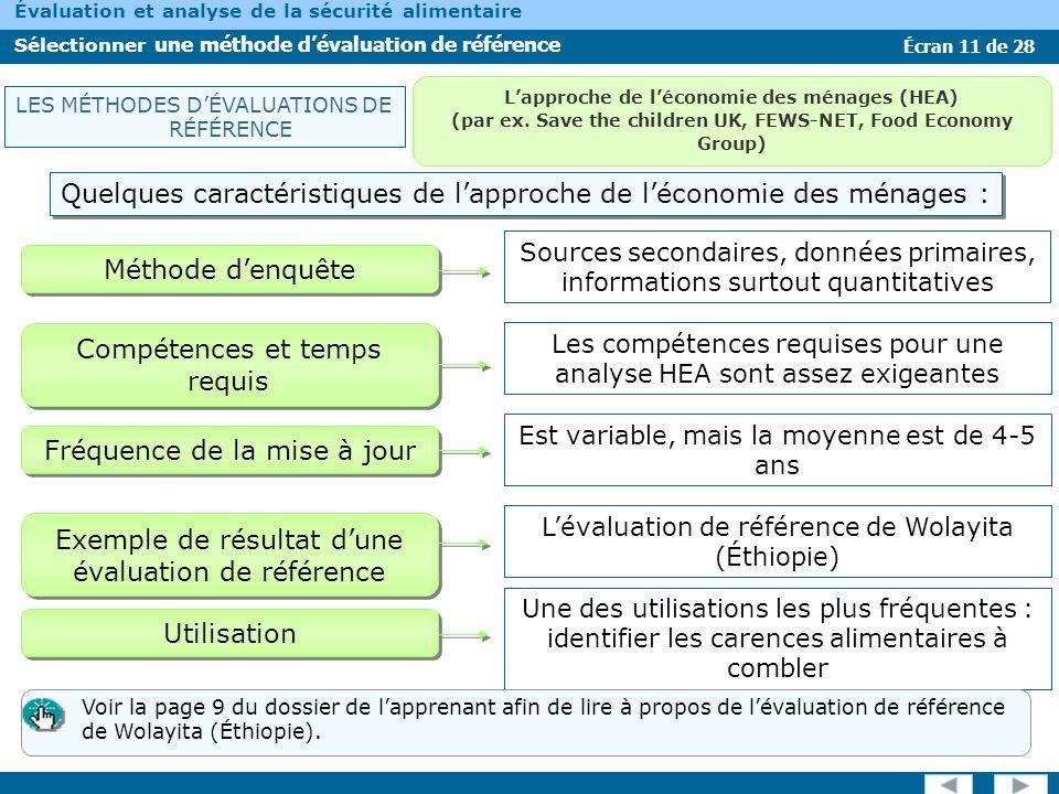Écran 11 de 28 Évaluation et analyse de la sécurité alimentaire Sélectionner une méthode dévaluation de référence Quelques caractéristiques de lapproc