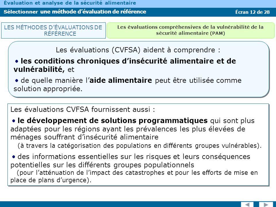 Écran 13 de 28 Évaluation et analyse de la sécurité alimentaire Sélectionner une méthode dévaluation de référence Les premières étapes du CVFSA consistent à : identifier les personnes vulnérables et à les localiser.