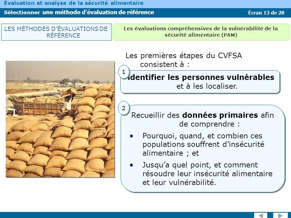 Écran 13 de 28 Évaluation et analyse de la sécurité alimentaire Sélectionner une méthode dévaluation de référence Les premières étapes du CVFSA consis