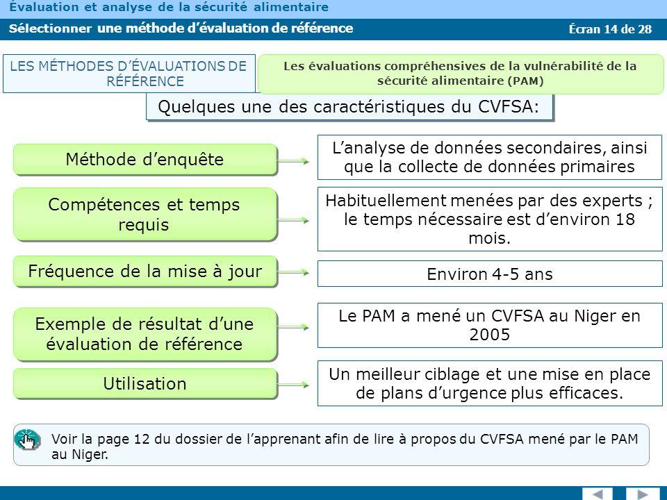 Écran 14 de 28 Évaluation et analyse de la sécurité alimentaire Sélectionner une méthode dévaluation de référence Méthode denquête Compétences et temp