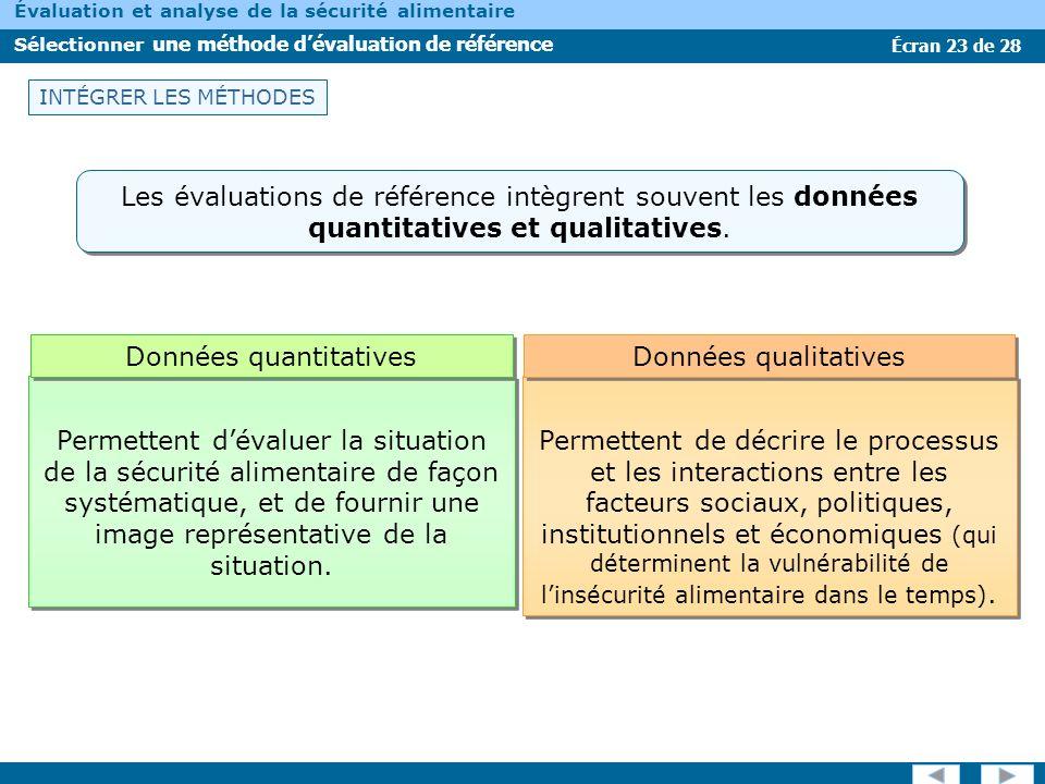 Écran 23 de 28 Évaluation et analyse de la sécurité alimentaire Sélectionner une méthode dévaluation de référence INTÉGRER LES MÉTHODES Les évaluation
