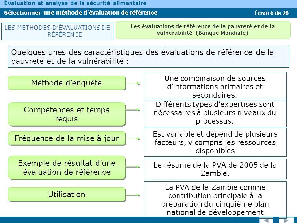 Écran 6 de 28 Évaluation et analyse de la sécurité alimentaire Sélectionner une méthode dévaluation de référence Quelques unes des caractéristiques de