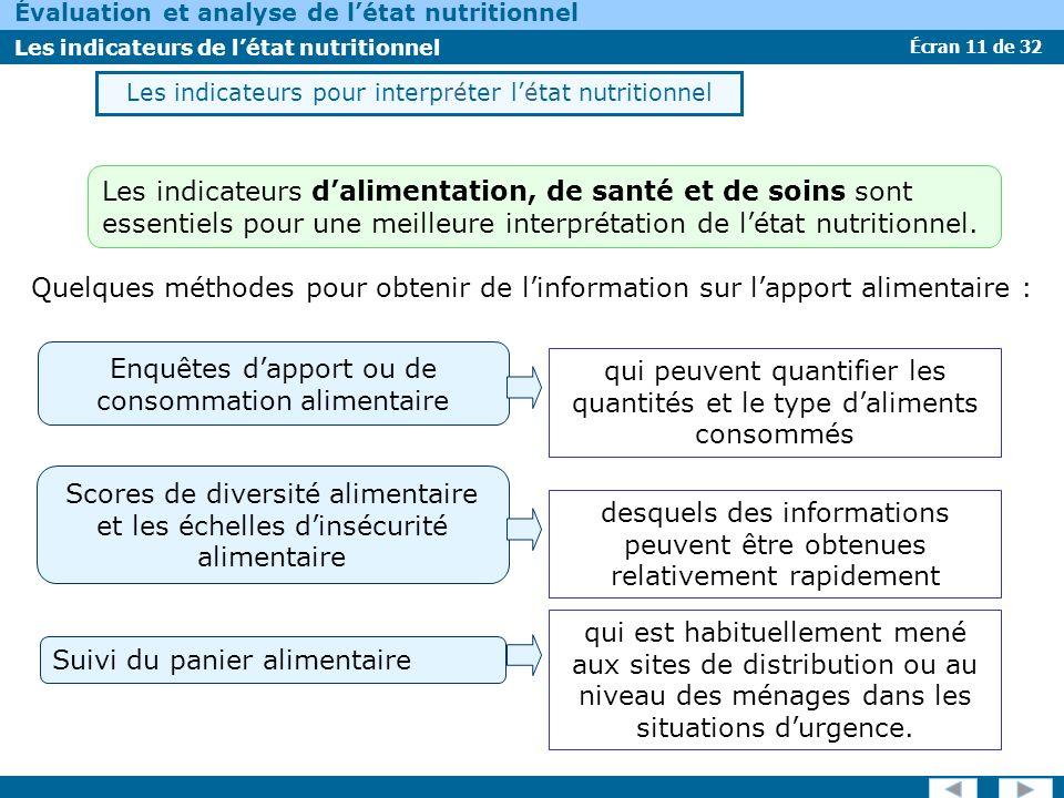 Écran 11 de 32 Évaluation et analyse de létat nutritionnel Les indicateurs de létat nutritionnel Les indicateurs pour interpréter létat nutritionnel q