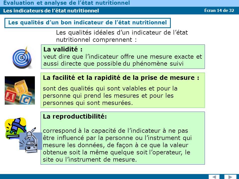 Écran 14 de 32 Évaluation et analyse de létat nutritionnel Les indicateurs de létat nutritionnel Les qualités dun bon indicateur de létat nutritionnel