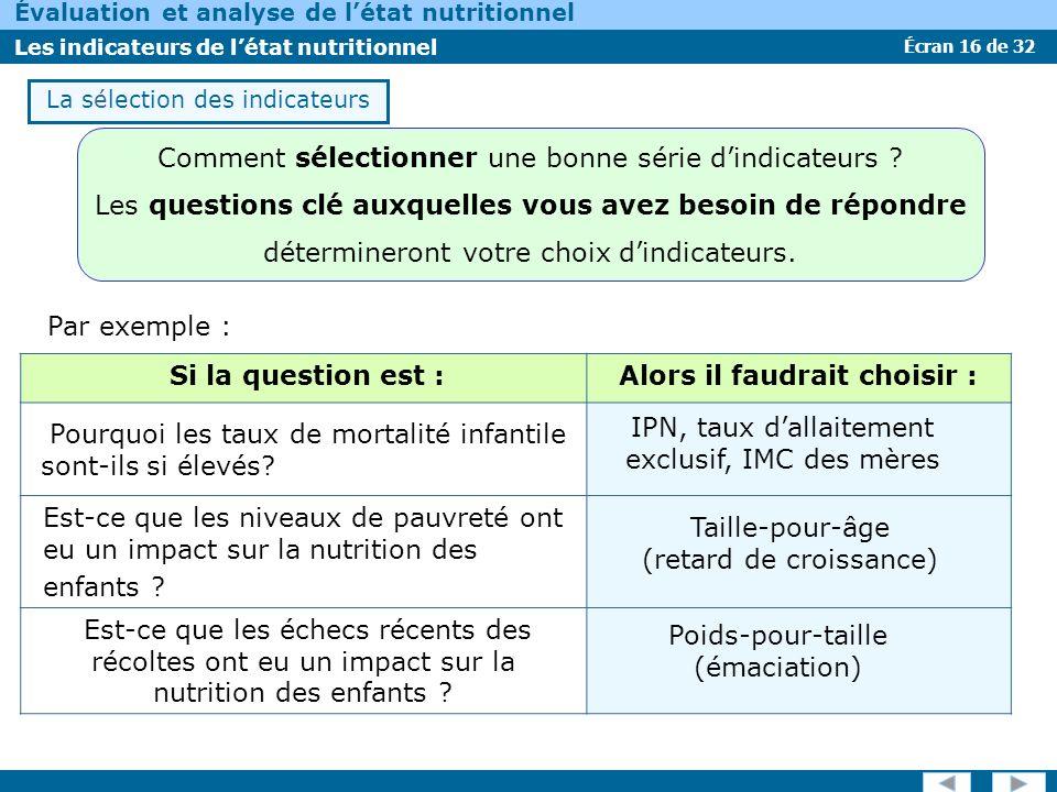 Écran 16 de 32 Évaluation et analyse de létat nutritionnel Les indicateurs de létat nutritionnel La sélection des indicateurs Par exemple : Si la ques