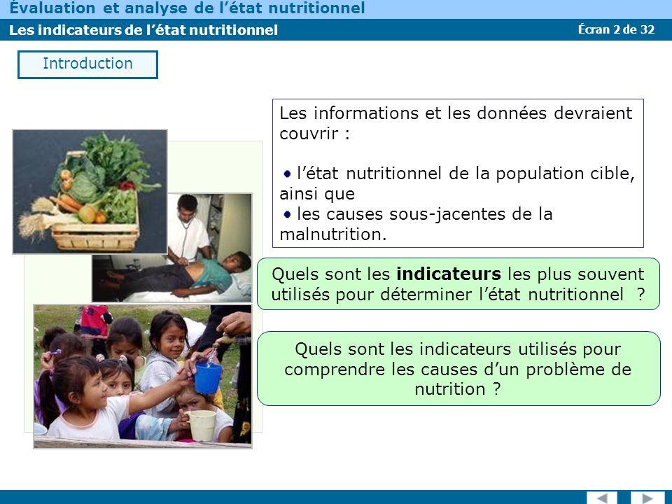 Écran 2 de 32 Évaluation et analyse de létat nutritionnel Les indicateurs de létat nutritionnel Introduction Les informations et les données devraient