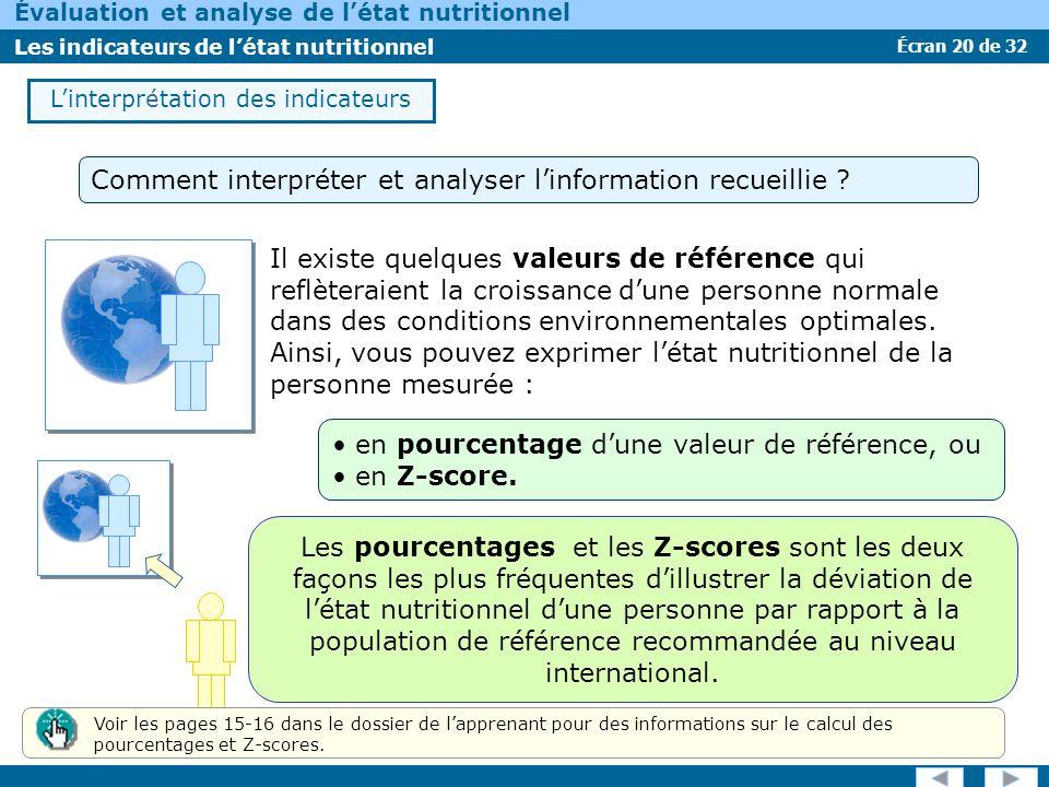 Écran 20 de 32 Évaluation et analyse de létat nutritionnel Les indicateurs de létat nutritionnel Il existe quelques valeurs de référence qui reflètera