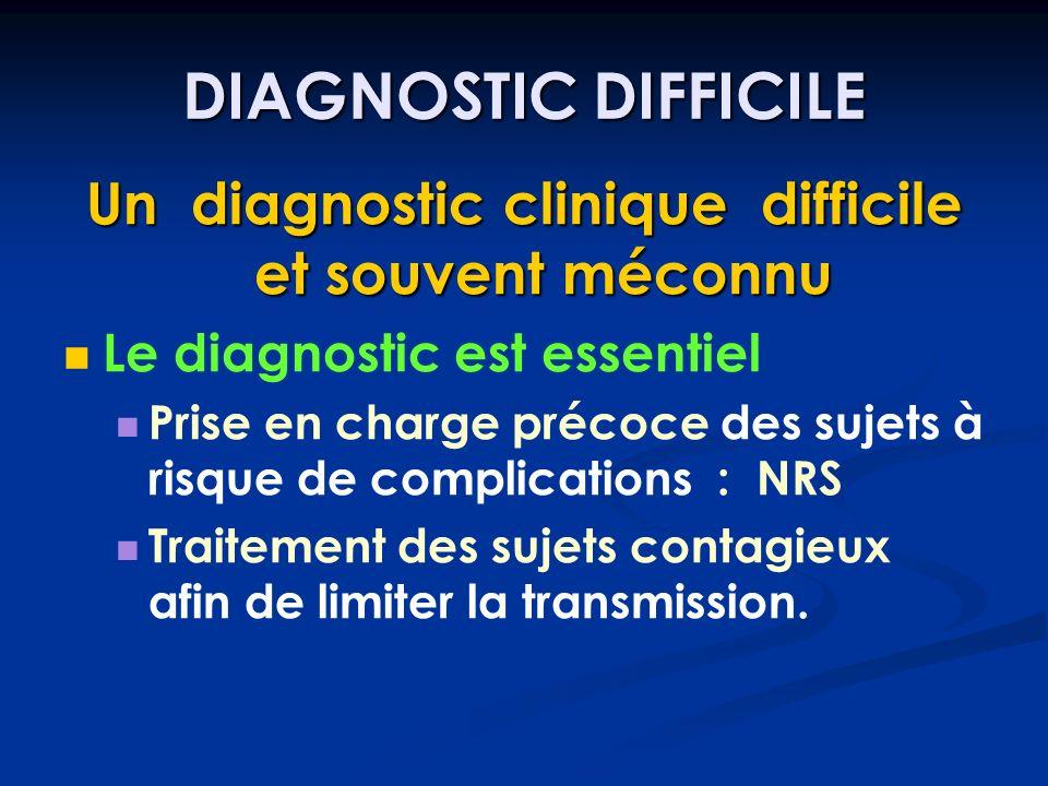 DIAGNOSTIC DIFFICILE Un diagnostic clinique difficile et souvent méconnu Le diagnostic est essentiel Prise en charge précoce des sujets à risque de co