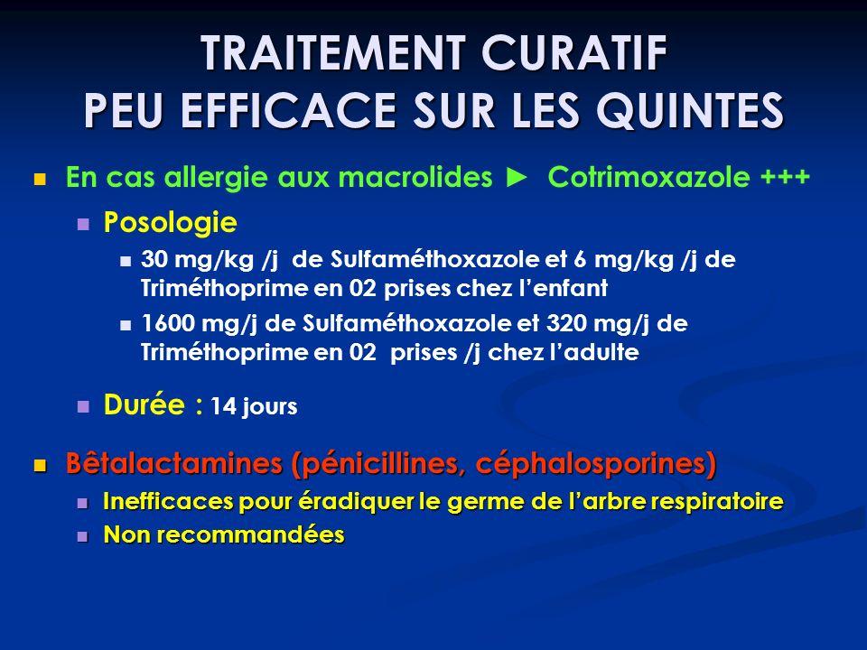 TRAITEMENT CURATIF PEU EFFICACE SUR LES QUINTES En cas allergie aux macrolides Cotrimoxazole +++ Posologie 30 mg/kg /j de Sulfaméthoxazole et 6 mg/kg
