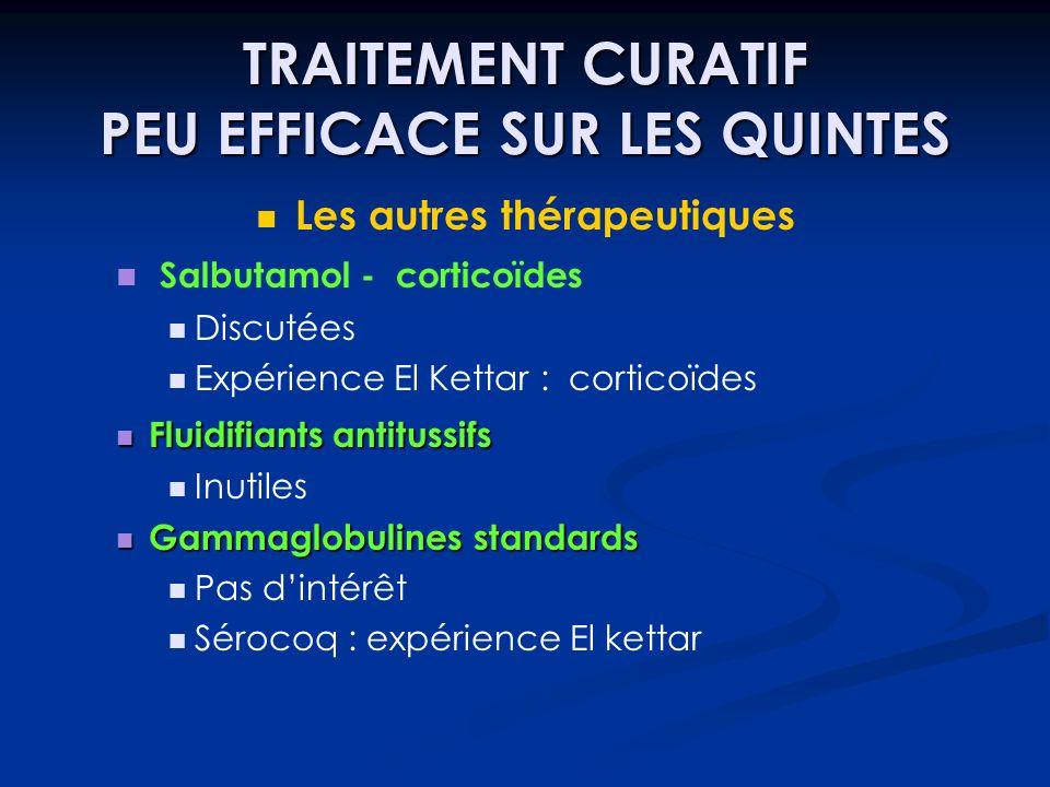TRAITEMENT CURATIF PEU EFFICACE SUR LES QUINTES Les autres thérapeutiques Salbutamol - corticoïdes Discutées Expérience El Kettar : corticoïdes Fluidi