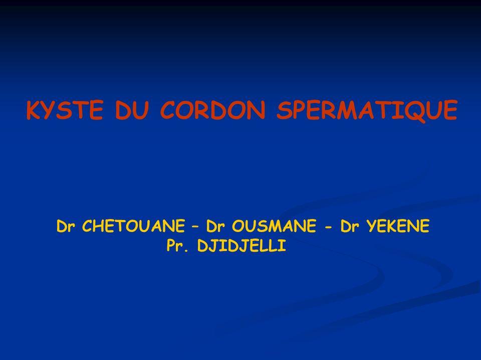 KYSTE DU CORDON SPERMATIQUE Dr CHETOUANE – Dr OUSMANE - Dr YEKENE Pr. DJIDJELLI