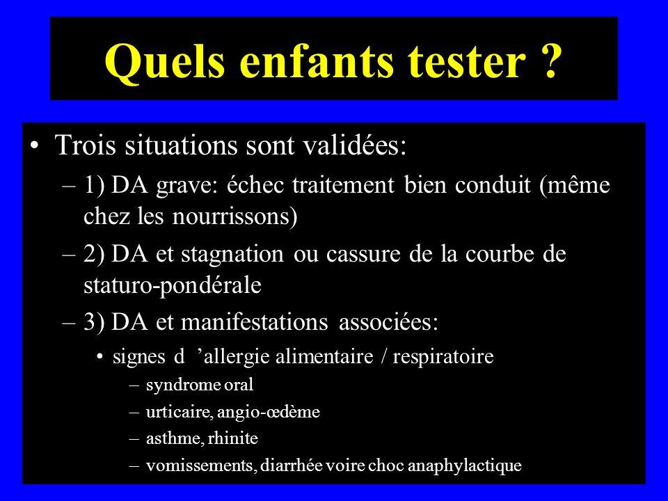 Quels enfants tester ? Trois situations sont validées: –1) DA grave: échec traitement bien conduit (même chez les nourrissons) –2) DA et stagnation ou