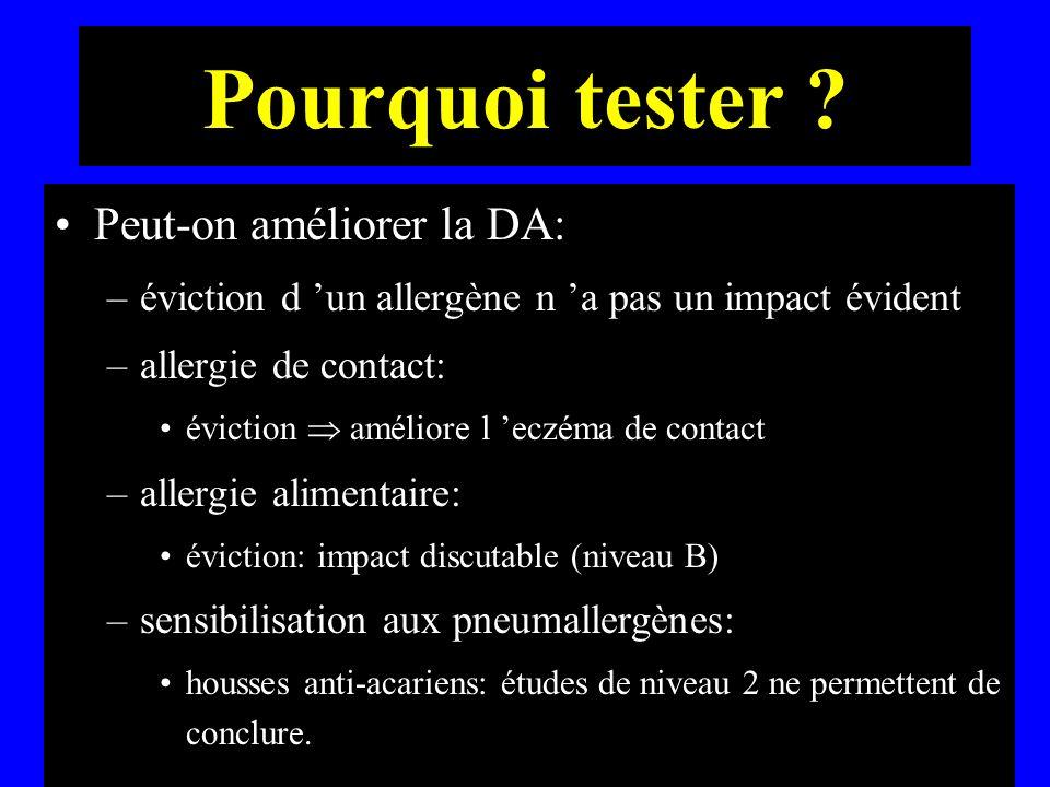 Pourquoi tester ? Peut-on améliorer la DA: –éviction d un allergène n a pas un impact évident –allergie de contact: éviction améliore l eczéma de cont