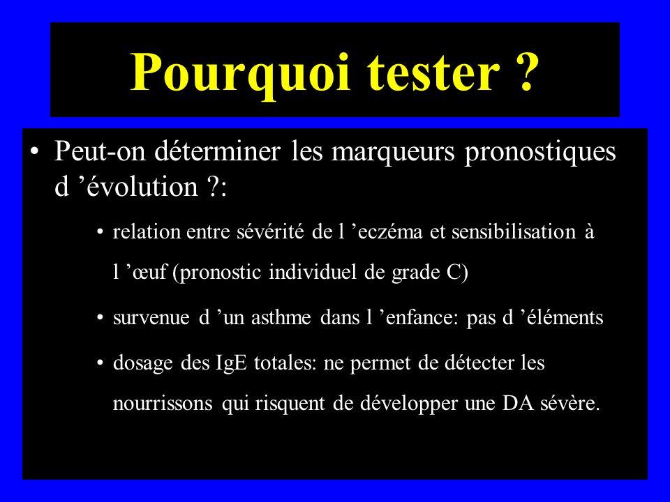 Pourquoi tester ? Peut-on déterminer les marqueurs pronostiques d évolution ?: relation entre sévérité de l eczéma et sensibilisation à l œuf (pronost
