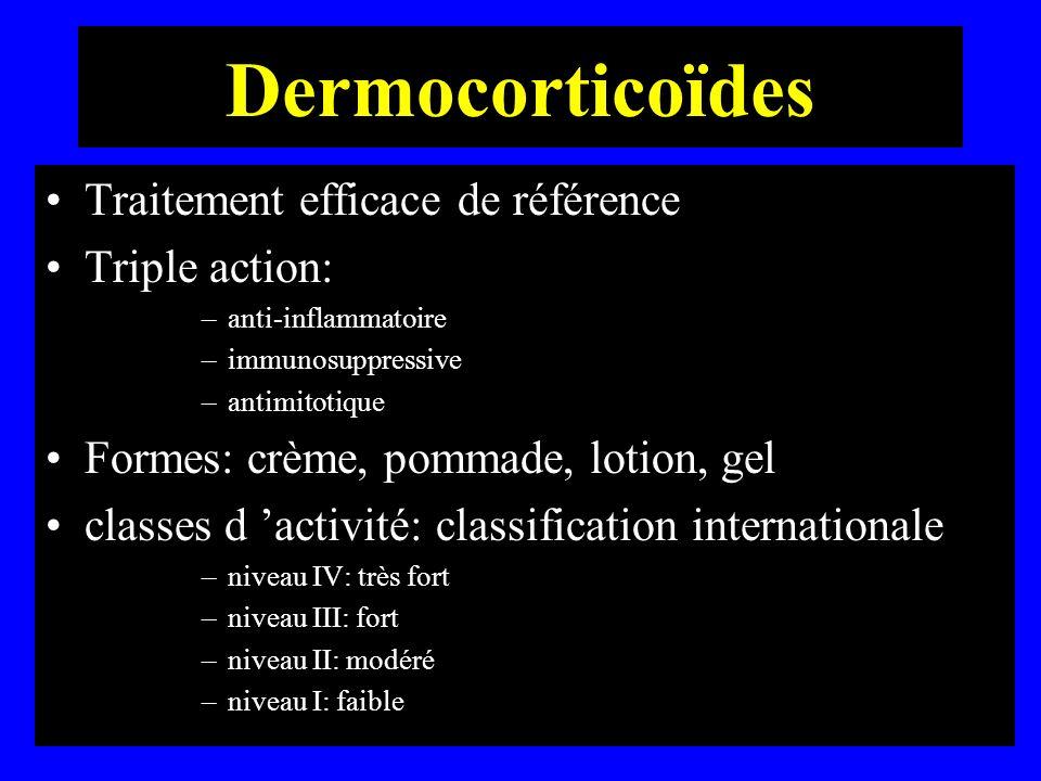 Dermocorticoïdes Traitement efficace de référence Triple action: –anti-inflammatoire –immunosuppressive –antimitotique Formes: crème, pommade, lotion,