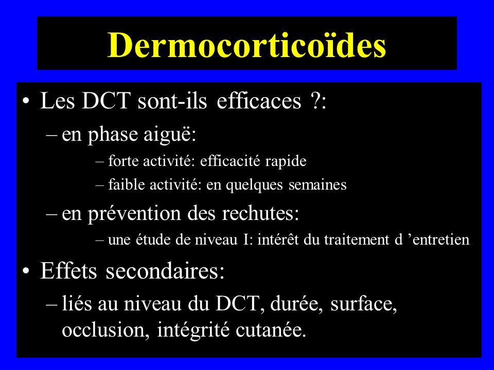 Dermocorticoïdes Les DCT sont-ils efficaces ?: –en phase aiguë: –forte activité: efficacité rapide –faible activité: en quelques semaines –en préventi