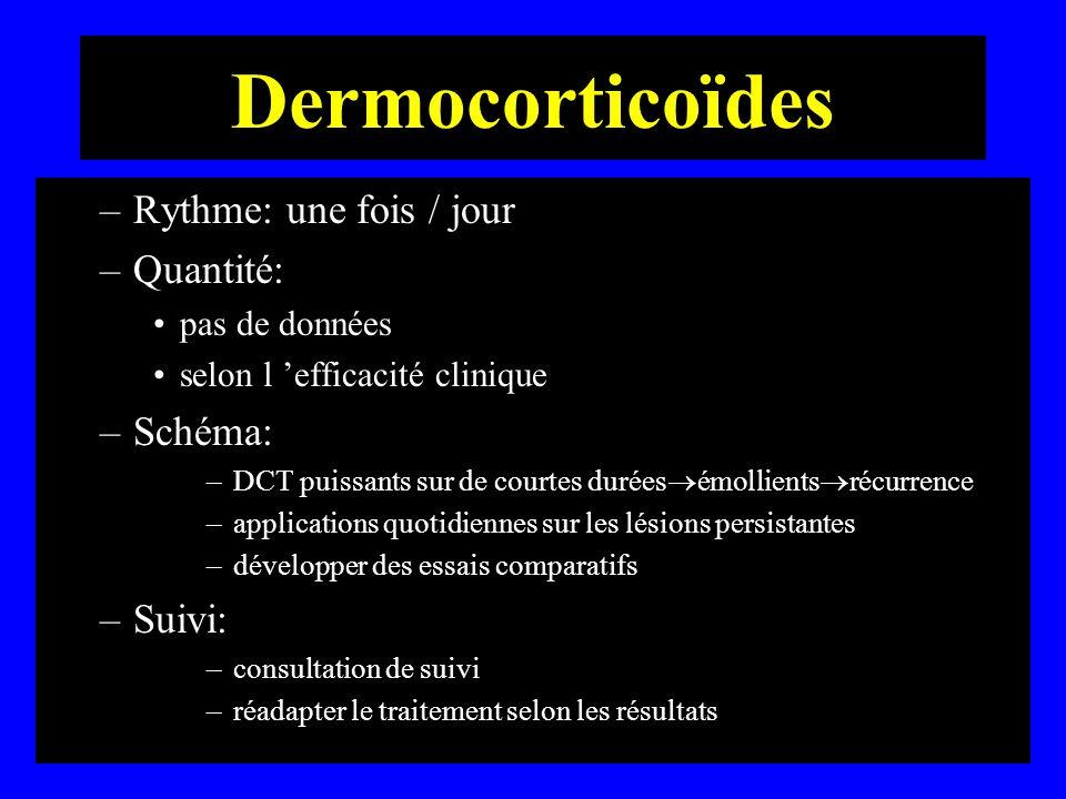 Dermocorticoïdes –Rythme: une fois / jour –Quantité: pas de données selon l efficacité clinique –Schéma: –DCT puissants sur de courtes durées émollien