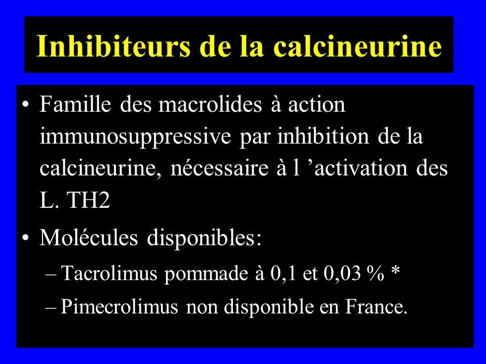 Inhibiteurs de la calcineurine Famille des macrolides à action immunosuppressive par inhibition de la calcineurine, nécessaire à l activation des L. T
