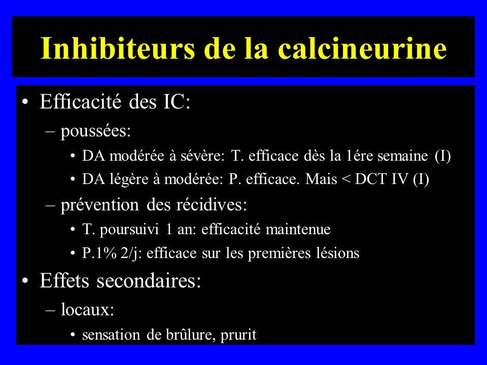 Inhibiteurs de la calcineurine Efficacité des IC: –poussées: DA modérée à sévère: T. efficace dès la 1ére semaine (I) DA légère à modérée: P. efficace
