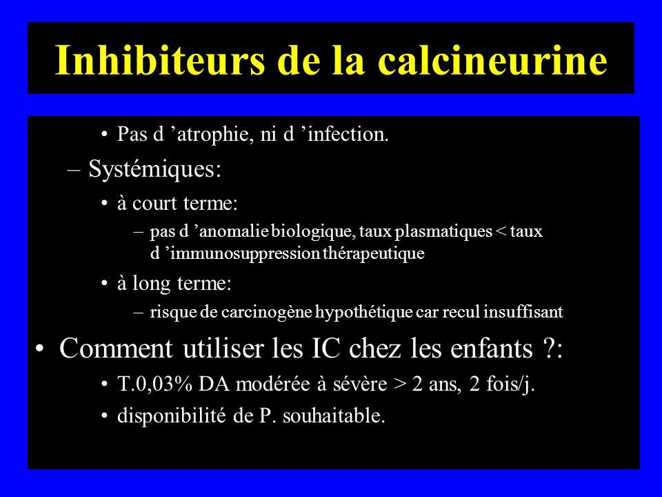 Inhibiteurs de la calcineurine Pas d atrophie, ni d infection. –Systémiques: à court terme: –pas d anomalie biologique, taux plasmatiques < taux d imm