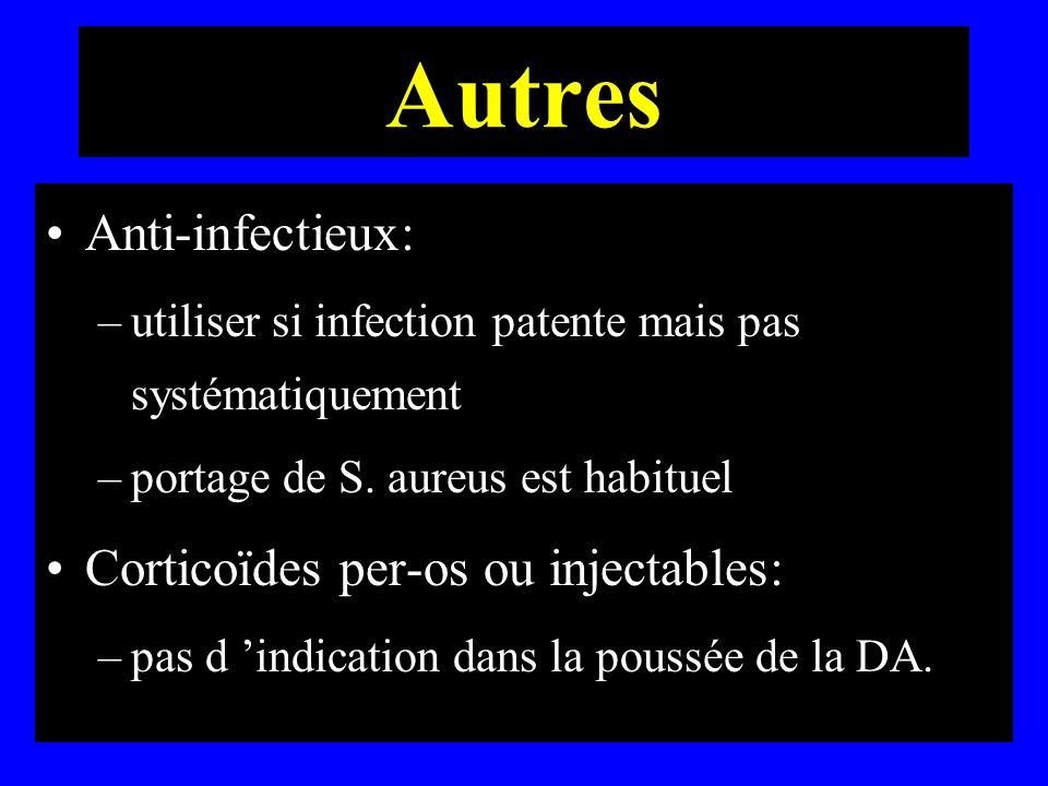 Autres Anti-infectieux: –utiliser si infection patente mais pas systématiquement –portage de S. aureus est habituel Corticoïdes per-os ou injectables: