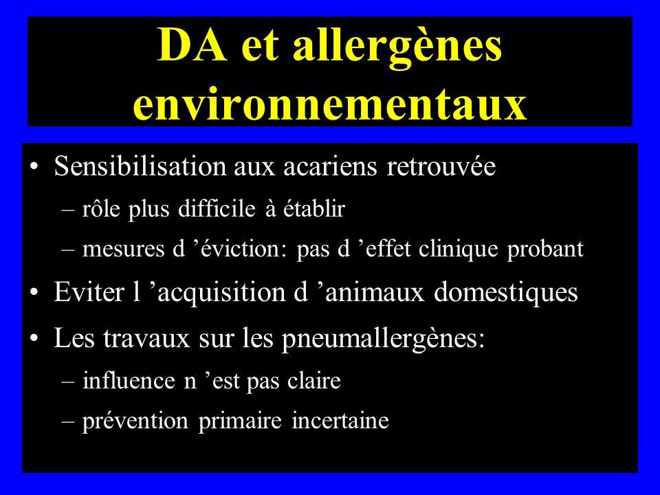 DA et allergènes environnementaux Sensibilisation aux acariens retrouvée –rôle plus difficile à établir –mesures d éviction: pas d effet clinique prob