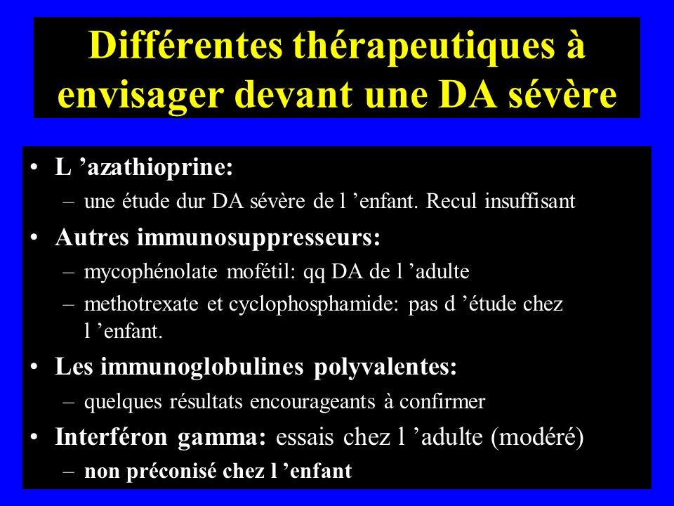 Différentes thérapeutiques à envisager devant une DA sévère L azathioprine: –une étude dur DA sévère de l enfant. Recul insuffisant Autres immunosuppr