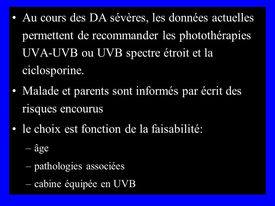 Au cours des DA sévères, les données actuelles permettent de recommander les photothérapies UVA-UVB ou UVB spectre étroit et la ciclosporine. Malade e