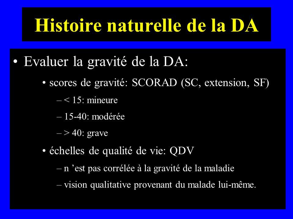 Histoire naturelle de la DA Evaluer la gravité de la DA: scores de gravité: SCORAD (SC, extension, SF) –< 15: mineure –15-40: modérée –> 40: grave éch