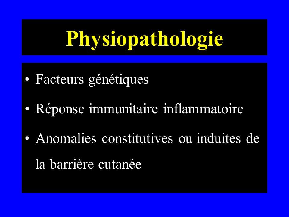Physiopathologie Facteurs génétiques: –atopie des parents du 1er degré 50 à 70% (DA, asthme, rhinite) –mode de transmission de l atopie: inconnu polygénique probable