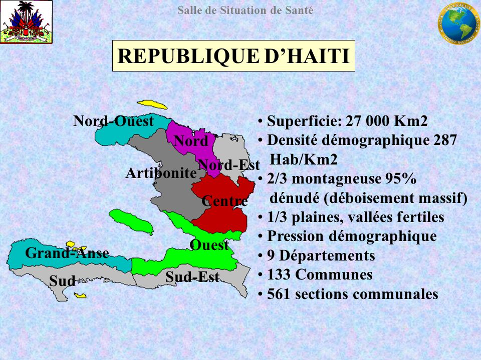 Salle de Situation de Santé REPUBLIQUE DHAITI 2004 Population: 7´823,100 (IHSI-2003) Espérance de vie: 58,4 ans Population jeune: 55% de <15 ans Taux durbanisation: 40.42% (INSI-2003) Taux d analphabétisme: 65% Taux de chômage: 65% Revenu per capita: 8 555 gourdes Mortalité Infantile: 80,3 %o Mortalité maternelle: 523 %ooo