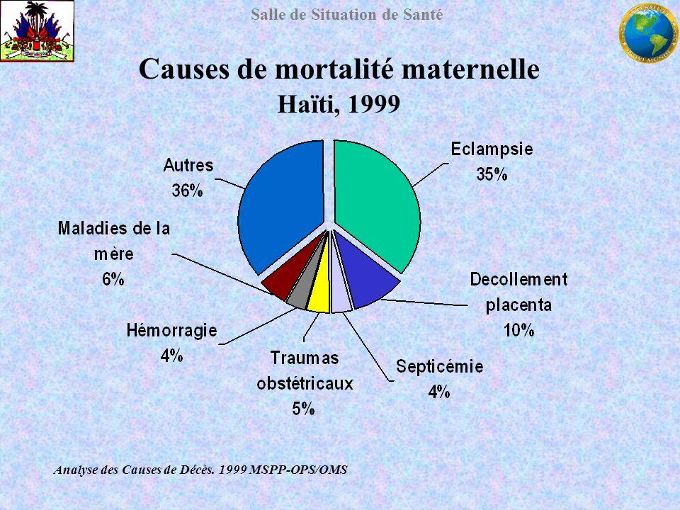 Salle de Situation de Santé Analyse des Causes de Décès. 1999 MSPP-OPS/OMS Causes de mortalité maternelle Haïti, 1999