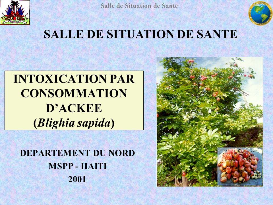 Salle de Situation de Santé INTOXICATION PAR CONSOMMATION DACKEE (Blighia sapida) DEPARTEMENT DU NORD MSPP - HAITI 2001 SALLE DE SITUATION DE SANTE