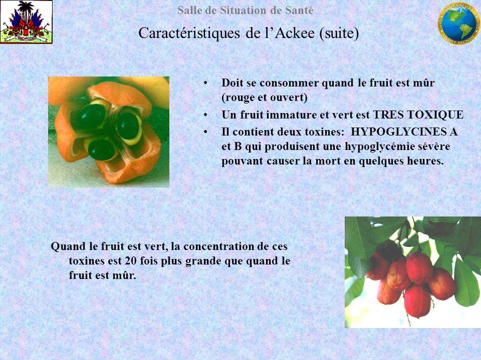 Salle de Situation de Santé Caractéristiques de lAckee (suite) Doit se consommer quand le fruit est mûr (rouge et ouvert) Un fruit immature et vert es