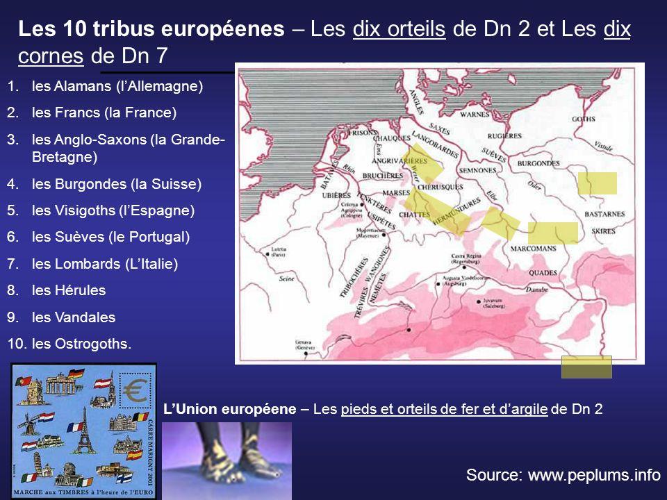 Les 10 tribus européenes – Les dix orteils de Dn 2 et Les dix cornes de Dn 7 1.les Alamans (lAllemagne) 2.les Francs (la France) 3.les Anglo-Saxons (l