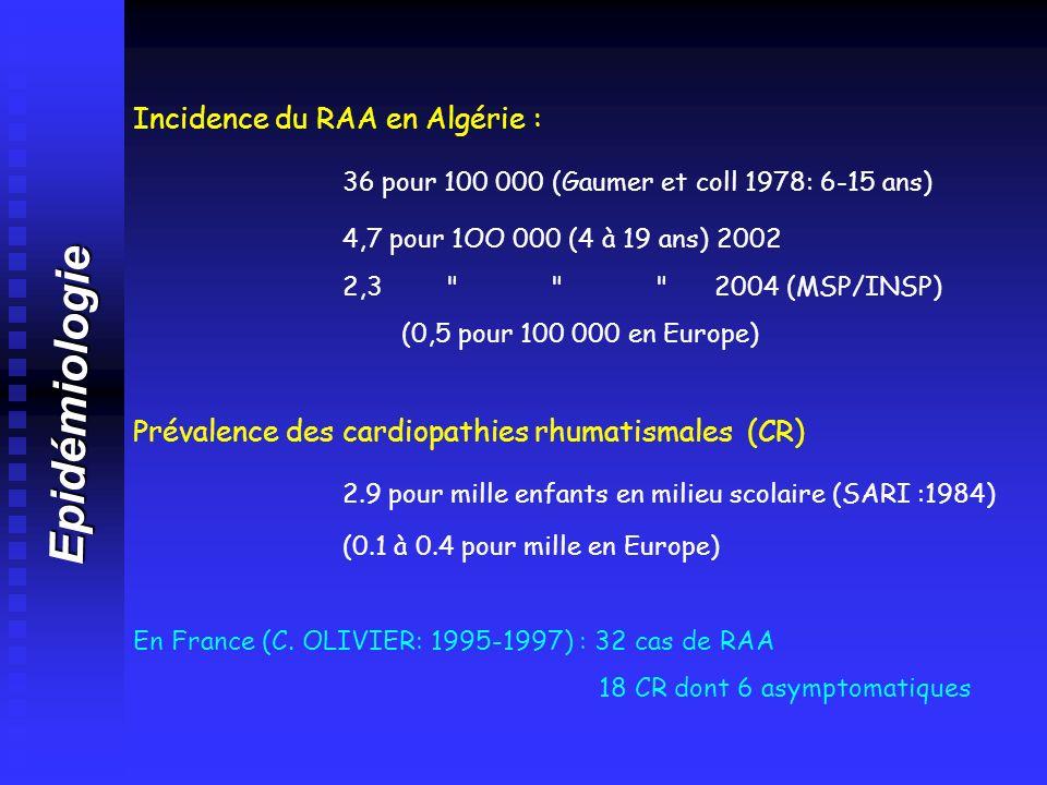 Epidémiologie Incidence du RAA en Algérie : 36 pour 100 000 (Gaumer et coll 1978: 6-15 ans) 4,7 pour 1OO 000 (4 à 19 ans) 2002 2,3