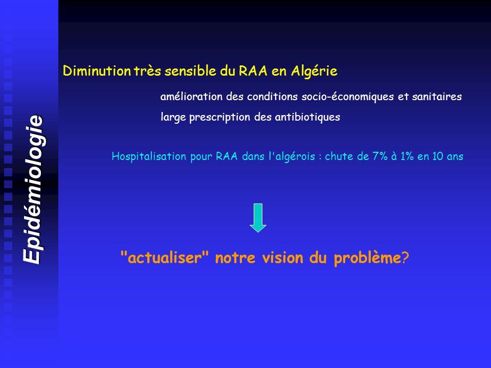 Epidémiologie Diminution très sensible du RAA en Algérie amélioration des conditions socio-économiques et sanitaires large prescription des antibiotiq