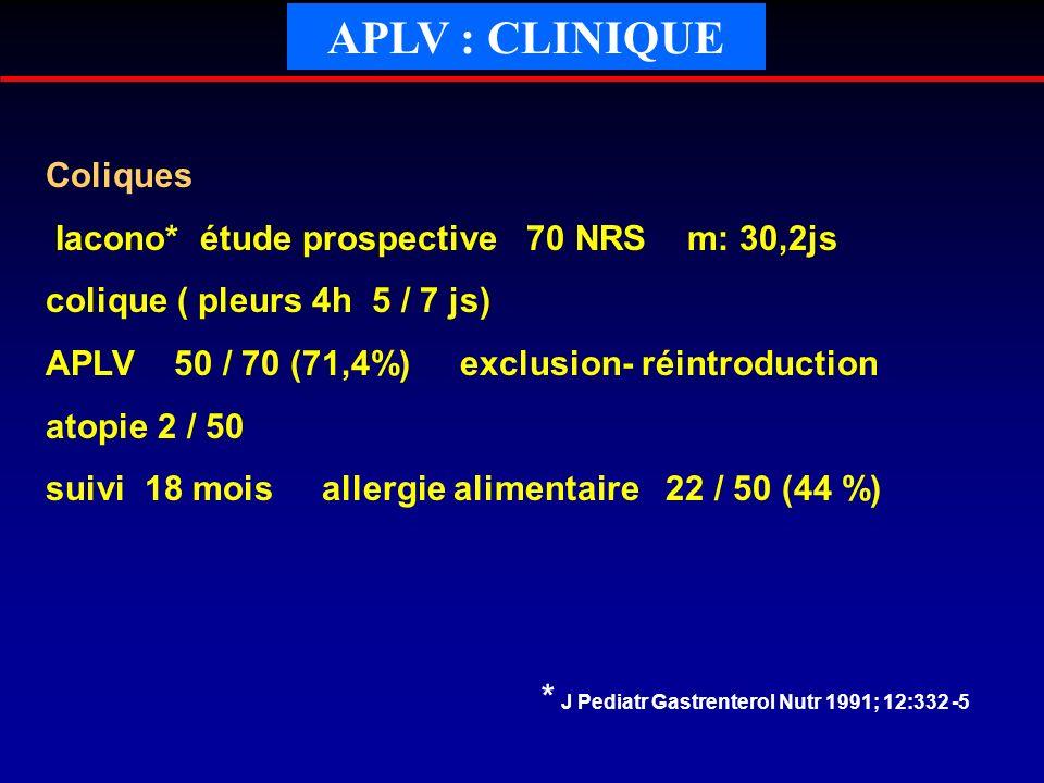 APLV : CLINIQUE Coliques Iacono* étude prospective 70 NRS m: 30,2js colique ( pleurs 4h 5 / 7 js) APLV 50 / 70 (71,4%) exclusion- réintroduction atopi