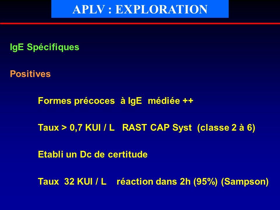 IgE Spécifiques Positives Formes précoces à IgE médiée ++ Taux > 0,7 KUI / L RAST CAP Syst (classe 2 à 6) Etabli un Dc de certitude Taux 32 KUI / L ré