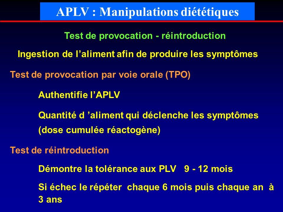 Test de provocation - réintroduction Ingestion de laliment afin de produire les symptômes Test de provocation par voie orale (TPO) Authentifie lAPLV Q