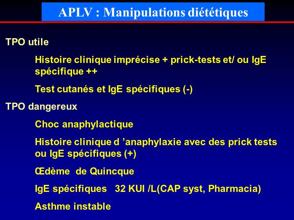 TPO utile Histoire clinique imprécise + prick-tests et/ ou IgE spécifique ++ Test cutanés et IgE spécifiques (-) TPO dangereux Choc anaphylactique His