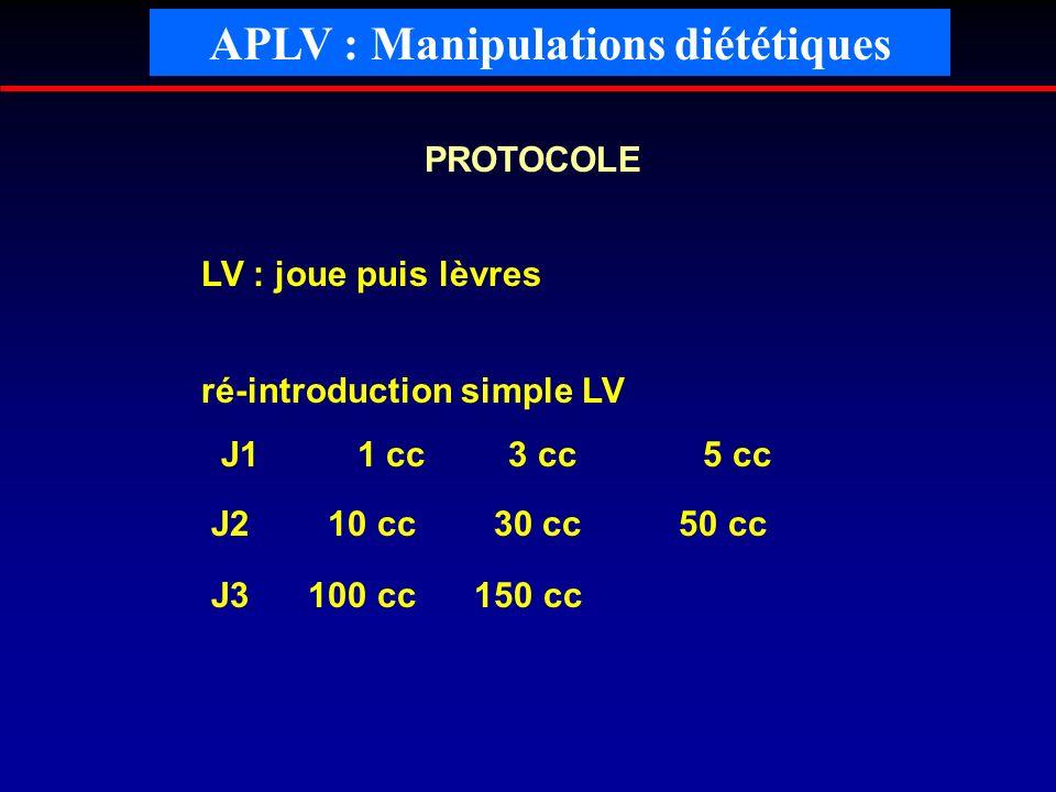 PROTOCOLE LV : joue puis lèvres ré-introduction simple LV J1 1 cc 3 cc 5 cc J2 10 cc 30 cc 50 cc J3 100 cc 150 cc APLV : Manipulations diététiques