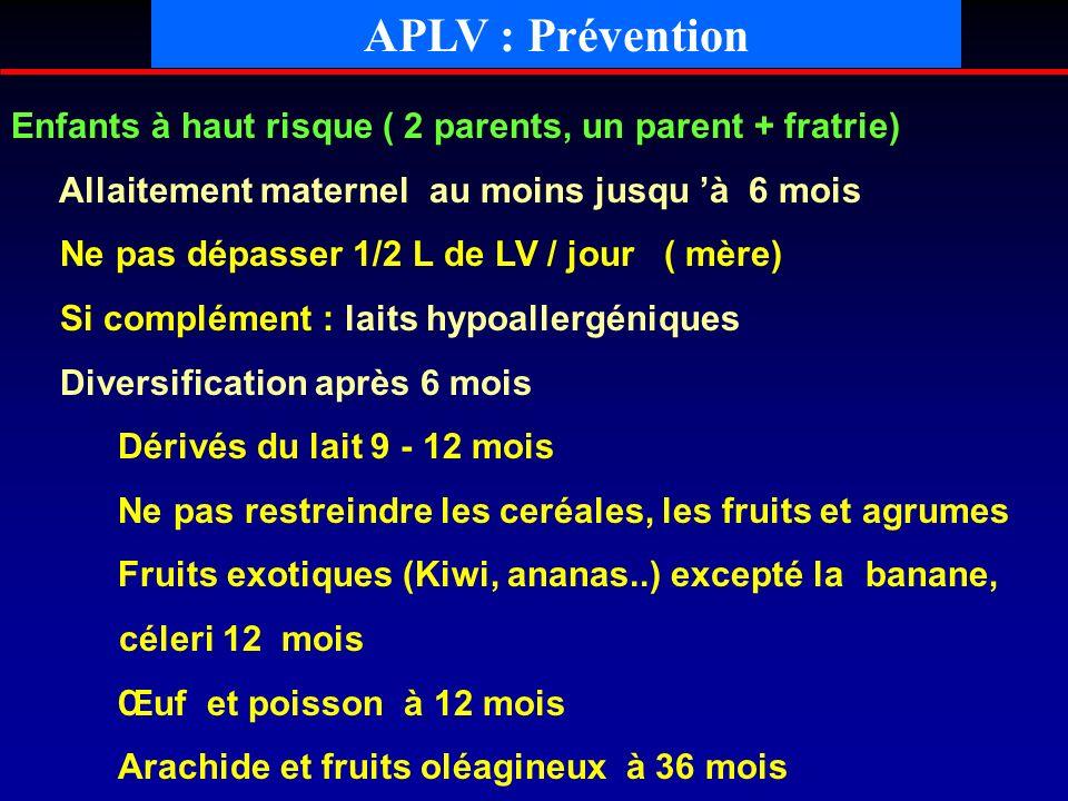 APLV : Prévention Enfants à haut risque ( 2 parents, un parent + fratrie) Allaitement maternel au moins jusqu à 6 mois Ne pas dépasser 1/2 L de LV / j