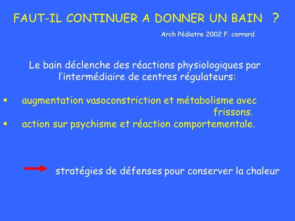 FAUT-IL CONTINUER A DONNER UN BAIN ? Arch Pédiatre 2002 F. corrard Le bain déclenche des réactions physiologiques par lintermédiaire de centres régula