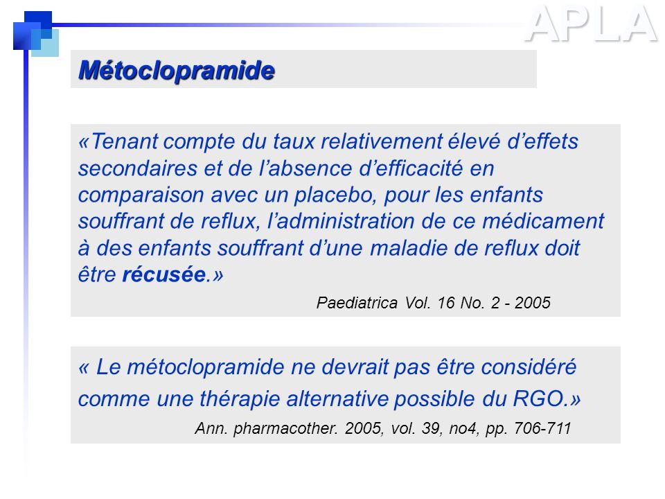APLA « Le métoclopramide ne devrait pas être considéré comme une thérapie alternative possible du RGO.» Ann. pharmacother. 2005, vol. 39, no4, pp. 706