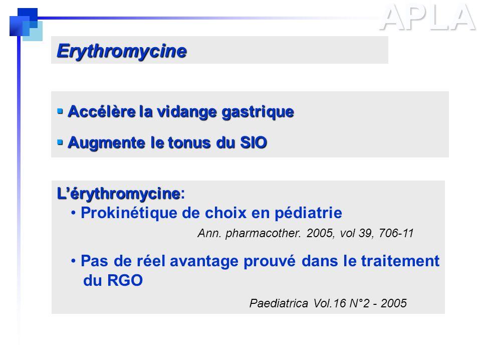 APLA Accélère la vidange gastrique Accélère la vidange gastrique Augmente le tonus du SIO Augmente le tonus du SIO Lérythromycine Lérythromycine: Prok